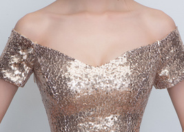 Gold Off Shoulder Short Sleeve Maxi Sequin Dress Lady Any Size Sequin Maxi Dress image 2