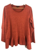 DG2 Diane Gilman Crossover Peplum Top Large L Orange Sweater RR34 - $21.29