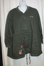 NEW WOMENS PLUS SIZE  30W/32W GREEN LONG BOMBER UTILITY JACKET WITH PATCHES - $26.11