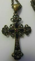 Signed Lia Sophia Rhinestone Cross Pendant Necklace - $23.50