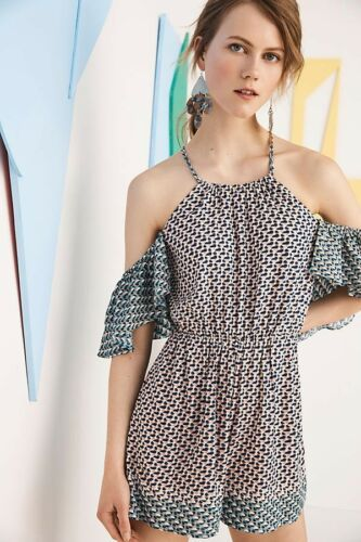 Primary image for New Anthropologie Madalenna Open-Shoulder Romper by Elevenses $98 SMALL