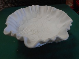 Beautiful IMPERIAL Glass DOESKIN Finish ROSE Design Ruffled Edge BOWL...... - $11.09