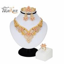 Dubai Gold Jewelry Sets for Women Crystal Leaf Shape Jewelry Classic Style Neckl - $21.92