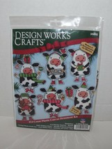 Design Works Crafts 1695 #14 Count Plastic Canvas 6 Ornament Kit Cows Ne... - $24.74
