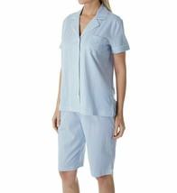 $62 Ralph Lauren Women XL Pajama Short Set Bermuda Knit Blue Stripe w Logo NWT - $41.58