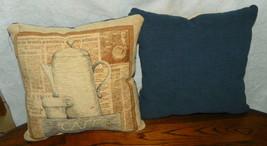 Pair of Blue Beige Teapot Print Throw Pillows  17 x 17 - $49.95