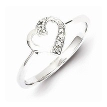 STERLING SILVER POLISHED DIAMOND HEART RING - SIZE 8 - £25.58 GBP