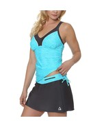 Gerry Women's 2 Piece Tankini Skort Swimsuit Set   Blue Belize Sz Small - $22.31