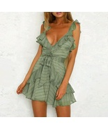 Green V neck sexy ruffle wrap boho short women dress mini spring summer ... - $42.00
