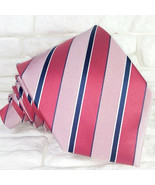 Men's necktie classic striped Red & Pink 100% silk  Made in Italy Morgan... - $27.46