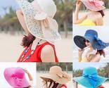 N colorful big brim straw bow hat sun floppy wide brim hats beach cap colorful big thumb155 crop