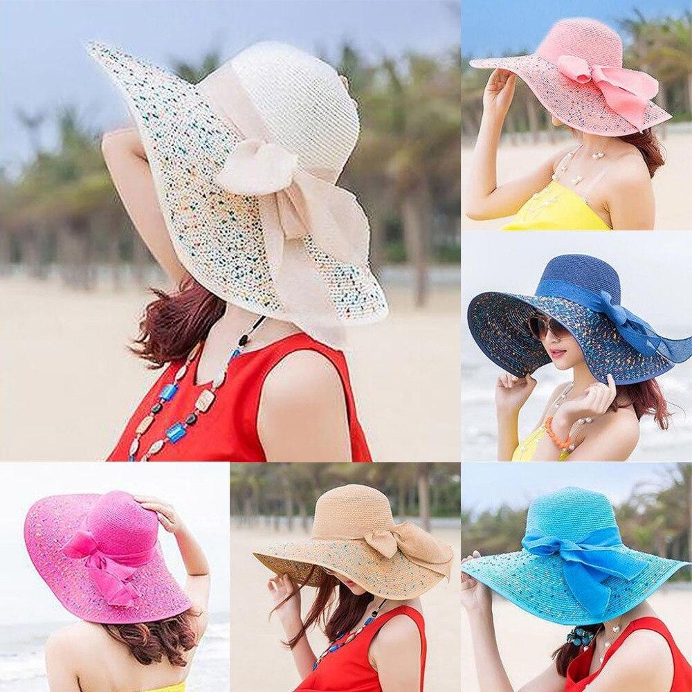 Women Colorful Big Brim Straw Bow Hat Sun Floppy Wide Brim Hats Beach Cap Colorf
