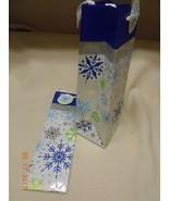 New 2 Hallmark wine bottle liquor bags glitter snow flakes name tags Chr... - $6.44