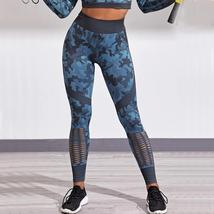 2PCS Long Sleeve Crop Top High Waist Camouflage Yoga Suit Seamless Gym Workout C image 3