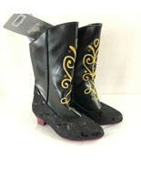 Disney Frozen Anna Boots Sequin Embroidered Faux Leather Black Dress Up ... - $33.85