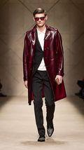 Multibutton Genuine Real  Men Leather Trench Log Coat  For Men