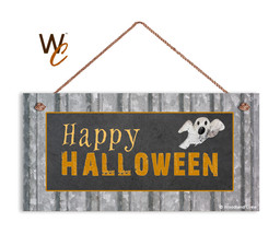 Happy Halloween Sign, Ghost Goblin Sign, Holiday Rustic 5x10 Spooky Wood... - $11.39