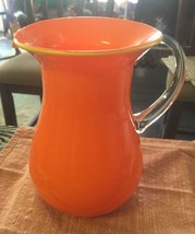 Clear Over Orange Cased Glass Water Pitcher Applied Handle Yellow Rim - $15.79