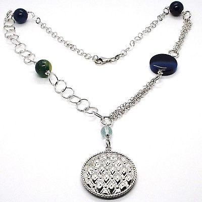 925 Silver Necklace, Agate Blue Striated with Locket Pendant, 55 cm