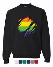 Ripped Gay Pride Rainbow Flag Sweatshirt LGBTQ Love Wins - $14.37+