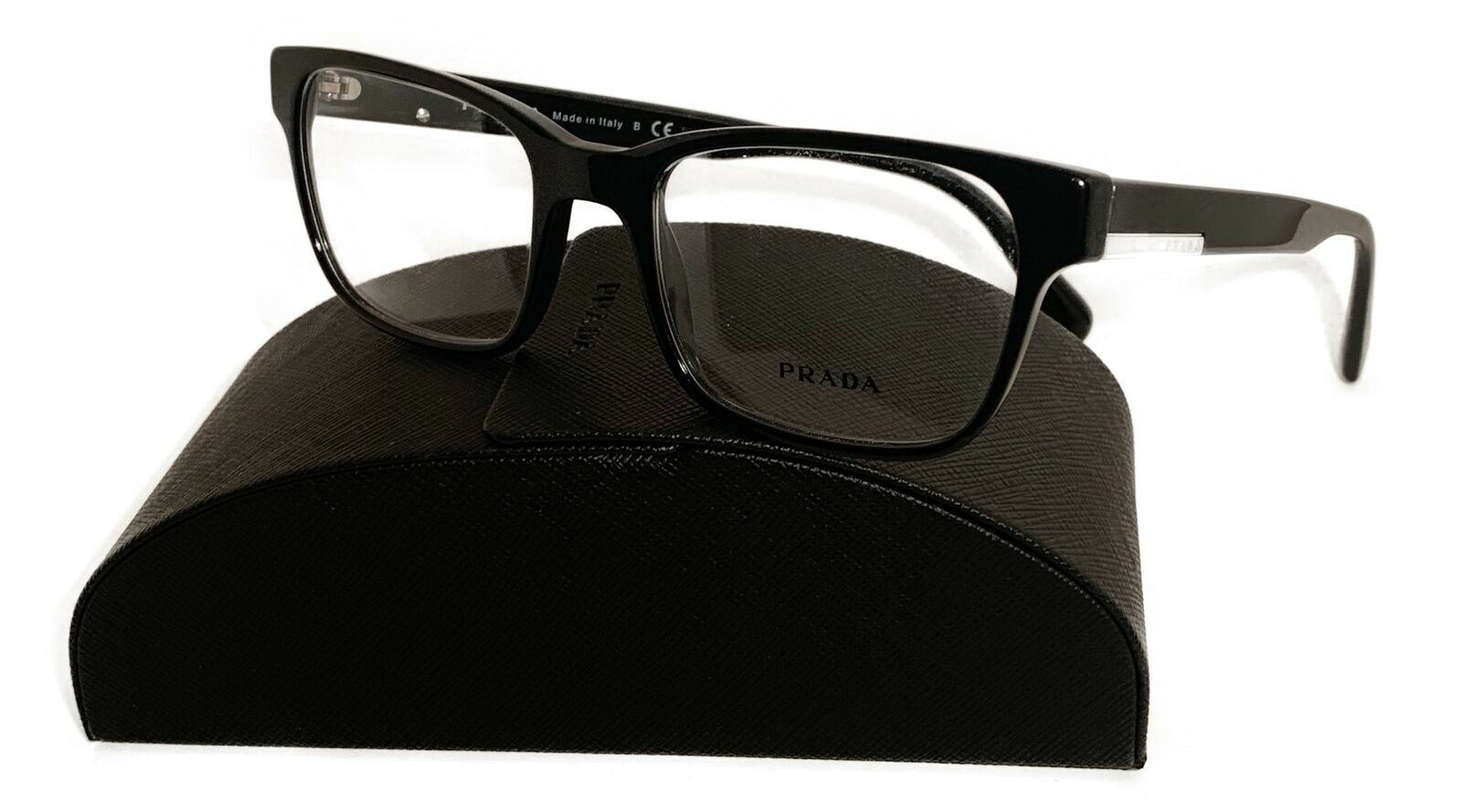 Prada Unisex Black Glasses with case VPR 06U 1AB-1O1 52mm