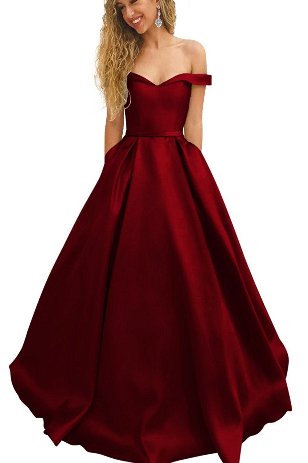 884c677277c G045burgundy. G045burgundy. Previous. Women s Prom Dress 2018 Long Off  Shoulder Satin Evening Party Dress With Pockets