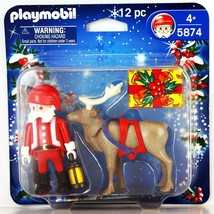 Playmobil 12pc Santa & Reindeer Figures 5874 NEW - $16.48