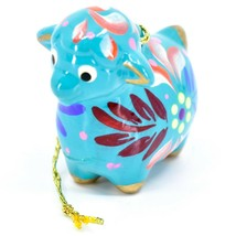 Handcrafted Painted Ceramic Blue Sheep Lamb Confetti Ornament Made in Peru image 2