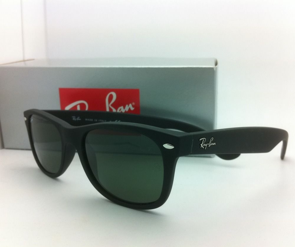 1f32a44df78 New Ray-Ban Sunglasses RB 2132 NEW WAYFARER 622 52-18 Black Rubber G-15  Lenses