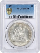 1870 $1 PCGS MS64 - Flashy White Example - Liberty Seated Dollar - $7,081.00