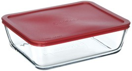 Anchor Hocking Classic Glass Food Storage Container with Lid, Red, 11 Cup - $33.64