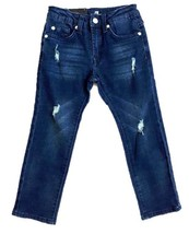 7 FOR ALL MANKIND Dark Blue DESTROYED Slimmy SLIM Straight Leg JEANS Str... - $60.72