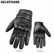 Gloves Men Breathable Wrist Support Hand Leather Full Finger Black Drivi... - $35.01