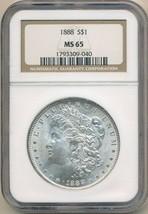 1888 MORGAN SILVER DOLLAR-NGC GRADED MS65! STUNNING! SHIPS FREE! - $135.95