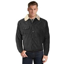vkwear Men's Classic Button Up Fur Lined Corduroy Sherpa Trucker Jacket (XL, Dar