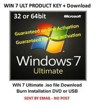 Windows 7 ULTIMATE 32/64bit Activation Key - From Genuine Licence Label - $10.50