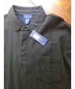 Club Room Men's Black Ribbed Cotton Long Sleeve Polo Shirt Size L Charte... - $9.41