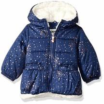 NWT $70 OshKosh B'Gosh Star Bubble Jacket Navy Blue Foil Print sz 12 MONTHS  - $43.56