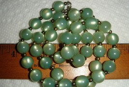 VTG 1960's SECRETARY GREEN THERMOSET LUCITE MOONGLOW NECKLACE CLIP EARRI... - $107.99