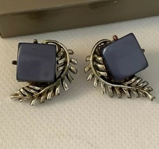 Vtg Pegasus Coro Blue Moonglow Lucite Square Silvertone Branches Clip Earrings - $14.85