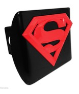 SUPERMAN RED SHIELD EMBLEM ON BLACK METAL USA MADE TRAILER HITCH COVER - $72.19