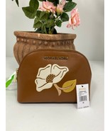 New Michael Kors Cosmetic Bag Nouveau Floral Travel Pouch Luggage Brown ... - $88.15