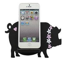 Pig Smartphone Holder Wood Stand Universal, Black - $9.99