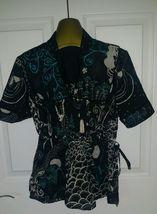 Lucky Brand Womens Black Blue white Boho Pheasant top blouse shirt NWOT ... - $2.96