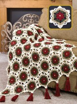 W628 Crochet PATTERN ONLY Christmas Holiday Glitter Afghan Throw Pattern - $8.50