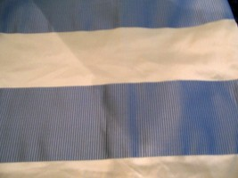 1.75yds ITALY SILK TAFFETA OFF WHITE BLUE STRIPES DESIGNER FABRIC DRESS/... - $55.00