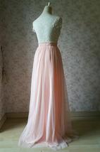 Women Blush Tulle Skirt Full Long Tulle Skirt, Blush Pink, High Waisted, Wedding image 4