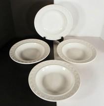 Mayer SCULPTURA White Rim Soup Pasta Bowl (s) LOT OF 4 Embossed - $26.68