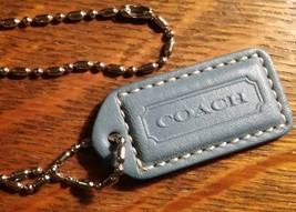 Coach Leather Dog Tag - Repurposed Blue Purse Label Logo Designer Long N... - $19.79