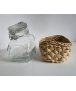 Vintage Slanted Wire Latching Lid Glass Apothecary Jar in a Woven Basket  - $14.00